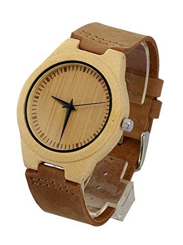 topwell Herren Weiss Bambus Holz Armbanduhr Herren Bambus Armbanduhren mit Band aus echtem Leder