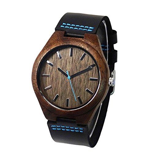 topwell Walnut Wood Case Blau Hand mit Schwarz Echtes Leder Gurt Geschenk ArmbandUhren