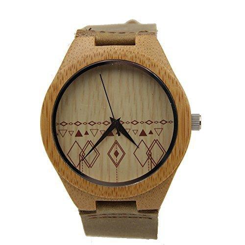 topwell Leder Bambus Holz Uhren Bambus Fall Quarz Handgelenk Uhren