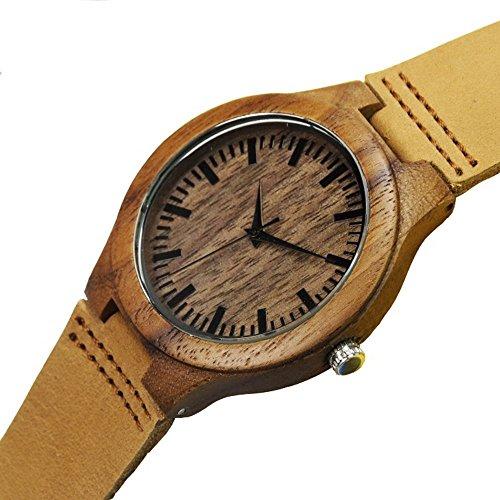 topwell Herren Walnuss Holz Uhren braun Leder Armbanduhren mit Uhrenbox