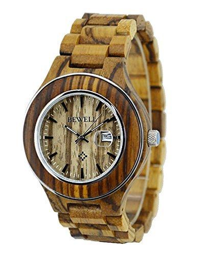 topwell Herren Zebrano Stahl Uhren Holz Uhr mit Kalender fuer Herren Zebra Holz Armbanduhren
