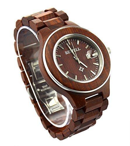 topwell Herren Rot Holz Stahl Uhren mit Kalender rot Sandelholz Armbanduhren Rot Holz Zifferblatt