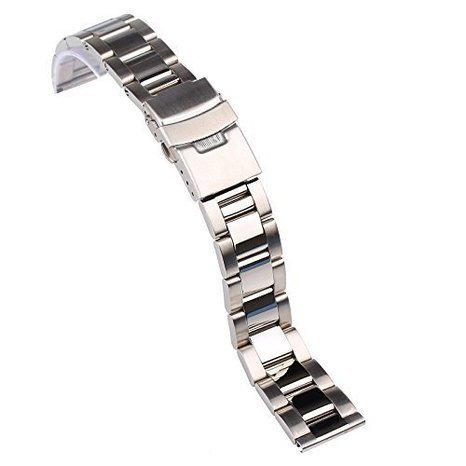 topwell 22 mm Silber Edelstahl Armbanduhr Band Band Armbanduhr links gerade Ende mit Fold Over Schliesse