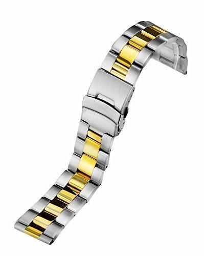 topwell Universal 22 mm Edelstahl Uhrenarmband Schliesse Silber und Gold Watch Band gerade Ende