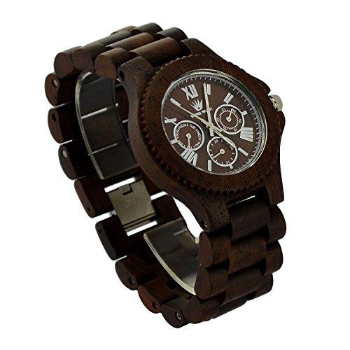 topwell rund verstellbar Datum Woche 24 Stunden Holz Uhren fuer Mann multi eyed Holz Armbanduhr