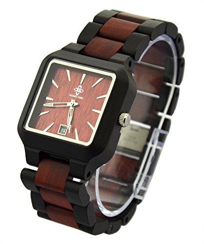 topwell Schwarz und Braun verstellbar eckig Holz Armbanduhren mit Datum Kalender Funktion