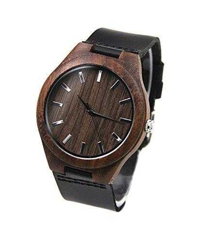 topwell Herren Walnuss Holz Uhren mit Lederband schwarz echtes Leder Band Holz Armbanduhren