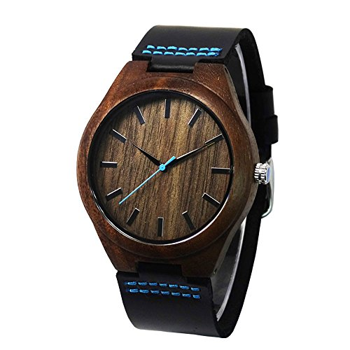 topwell Walnussholz Fall blau Zweite Hand mit Schwarz Echtes Leder Band Armbanduhren