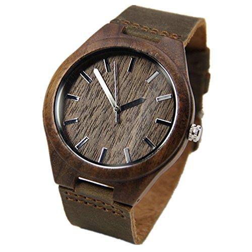 topwell Walnussholz Uhren fuer Maenner Braun Leder Armbanduhren Echt Leder Band mit Geschenk Box