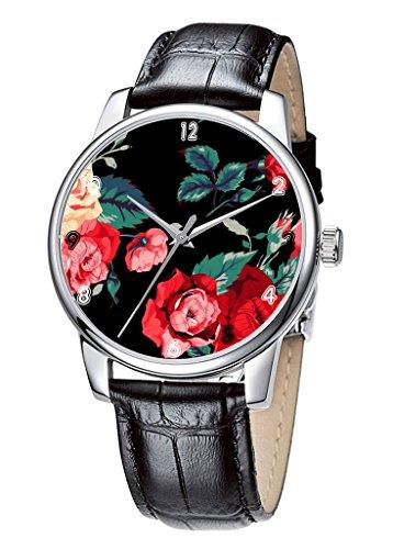 Topgraph Uhren Lederarmband Analog Schoene Blumen Entwurf Breite des Armbands 14mm