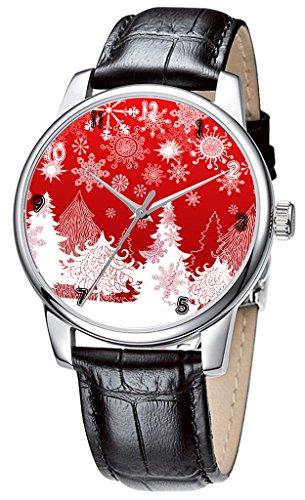 Topgraph Uhren Lederarmband Analog Red Christmas Breite des Armbands 14mm