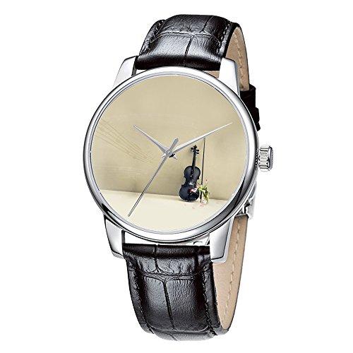 Topgraph Uhren Lederarmband Analog Musik Liebe Breite des Armbands 20mm