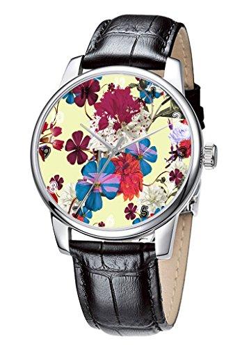 Topgraph Uhren Herren Damen Unisex Armbanduhr Elegant Uhr Leder Blumen Entwurf Breite des Armbands 20mm