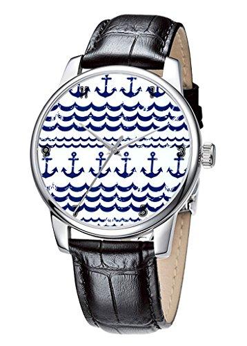 Topgraph Uhren Herren Damen Unisex Armbanduhr Elegant Uhr Leder Marine Blau Muster Breite des Armbands 14mm