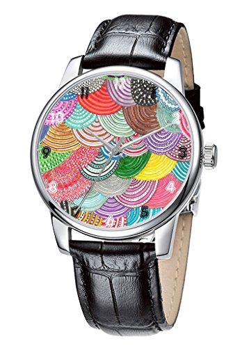 Topgraph Armbanduhr Damen Casual Design Leder quarz analoge Schwarz Bunte Auslegung Breite des Armbands 14mm