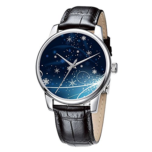 Topgraph Damen Laessig Armbanduhr Quarzuhr aus Leichtmetall Lederarmband Fliegen Schneeflocke Breite des Armbands 20mm