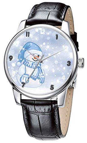 Topgraph Damen Leder Band Analog Schwarz Happy Christmas Snowman Breite des Armbands 14mm