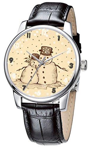Topgraph Armbanduhr Damen Leder Schwarz Vintage Design Schoene Schneemann Breite des Armbands 14mm