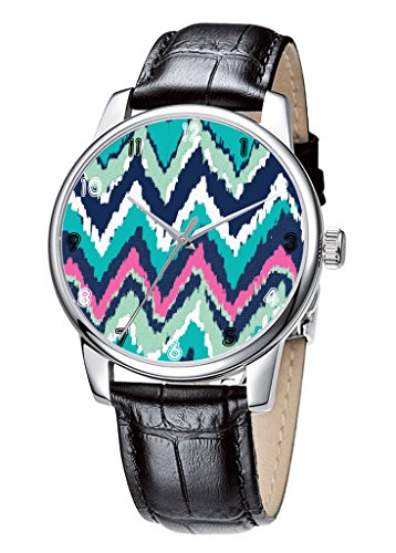 Topgraph Armbanduhr Damen Leder Schwarz Vintage Design Color Art Breite des Armbands 20mm