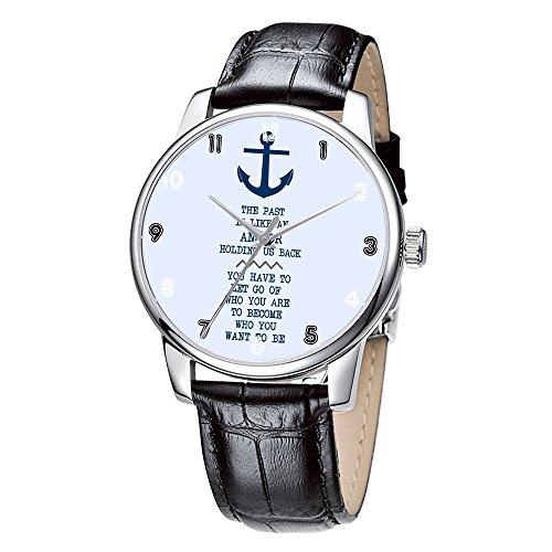 Topgraph Armbanduhr Damen Leder Schwarz Vintage Design Anker