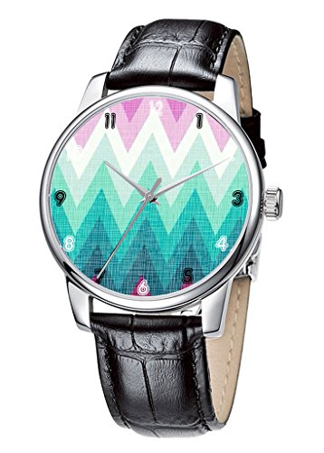 Topgraph Damen Leder Schwarz Einfache Muster Breite des Armbands 20mm