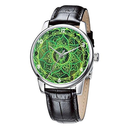 Topgraph Elegant Schwarz Analoge Uhr Watch Green Flower