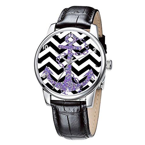 Topgraph Elegant Schwarz Analoge Uhr Watch Lila Glitter Anchor
