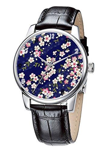Topgraph Elegant Schwarz Analoge Uhr Watch Schoene Blumen Breite des Armbands 14mm