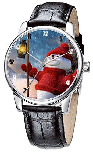 Topgraph Lederarmband Schwarz Uhren Damen Happy Christmas Snowman Breite des Armbands 20mm