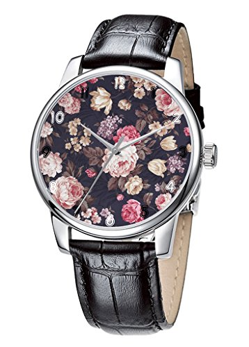 Topgraph Schwarz Lederarmband Analoge Quarzuhr Retro elegante Blumen Kunst Breite des Armbands 14mm