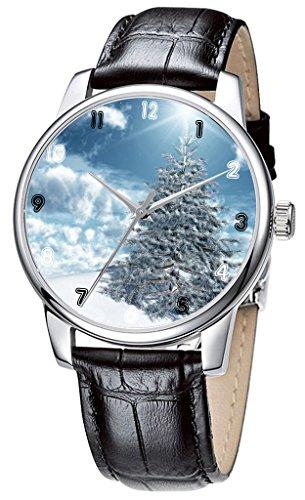 Topgraph Lederarmband Schwarz Uhren Damen Wintersaison Breite des Armbands 14mm