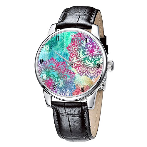 Topgraph Uhren Damen Lederarmband Armbanduhr Analog Qaurzuhr Bunte Blumen