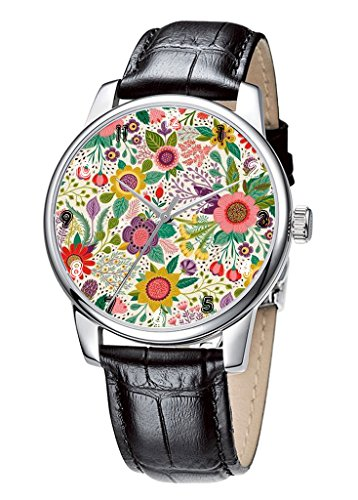 Topgraph Uhren Damen Lederarmband Armbanduhr Analog Qaurzuhr Schoenes Laecheln Blume Breite des Armbands 14mm