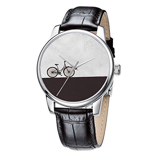 Topgraph Uhren Damen Lederarmband Armbanduhr Analog Qaurzuhr Fahrrad Breite des Armbands 14mm