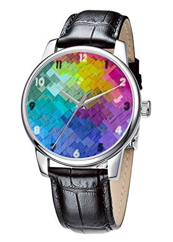 Topgraph Uhren Damen Lederarmband Armbanduhr Analog Qaurzuhr Bunte Auslegung Breite des Armbands 20mm