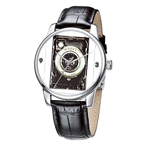Topgraph Uhren Damen Lederarmband Armbanduhr Analog Qaurzuhr Retro Weinlese Muster