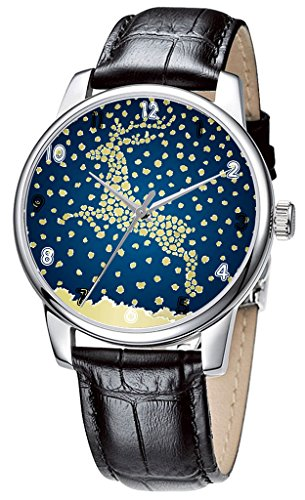 Topgraph Uhren Damen Lederarmband Analog Qaurzuhr Armbanduhr golden Christmas Breite des Armbands 14mm