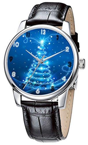 Topgraph Uhren Damen Lederarmband Analog Qaurzuhr Armbanduhr Glanz Snowy Weihnachtswelt Breite des Armbands 20mm