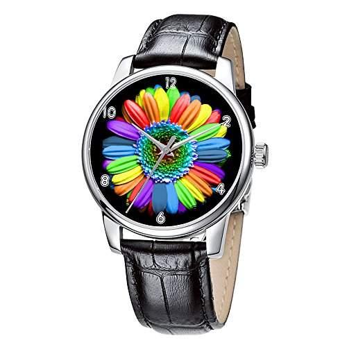 Topgraph Uhren Lederarmband Analog Regenbogen Farben Blumen
