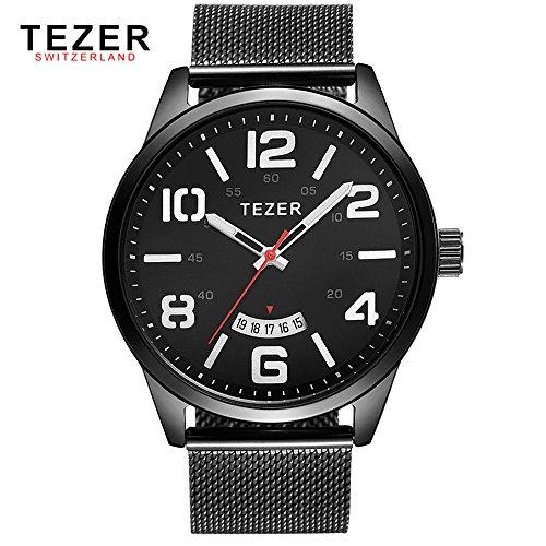 Tezer Casual T5024 mit Schwarz Zifferblatt Edelstahl Stahl