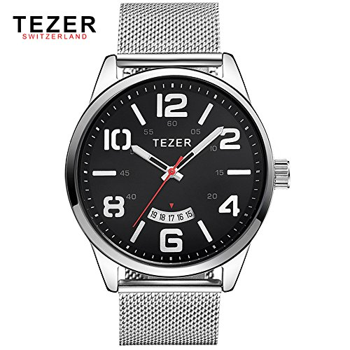 Tezer Herren Casual Armbanduhr T5024 mit schwarzem Zifferblatt Edelstahl Gurt
