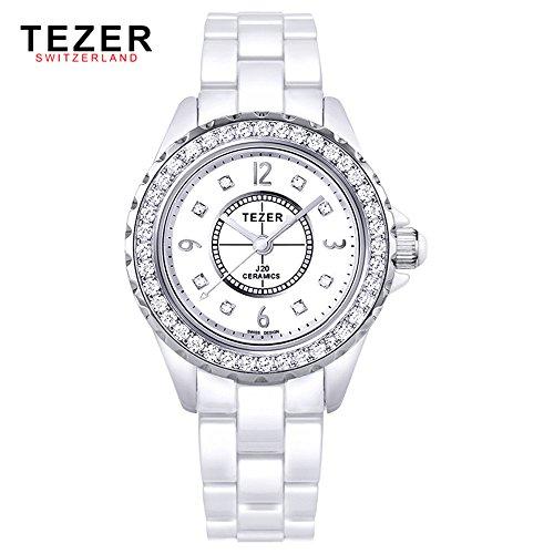 Tezer Fashion Keramik Handgelenk Uhren mit Sliver Ton T5002