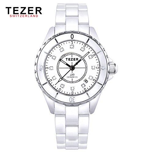 Tezer Fashion Keramik Handgelenk Uhren mit Strass T5002