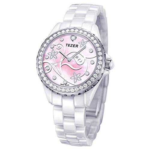 Tezer Fashion Quarz Keramik Handgelenk Uhren mit rosa Ton T5002