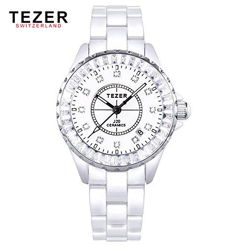 Tezer Fashion Quarz Keramik Handgelenk Uhren T5002