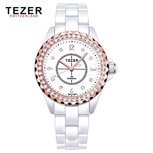 Tezer Fashion Keramik Handgelenk Uhren mit rosa Ton T5002