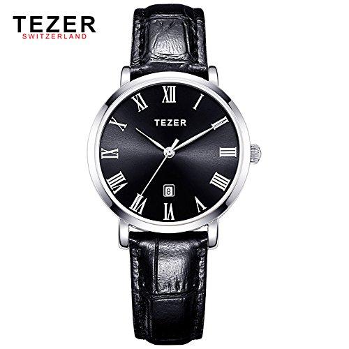 Tezer schwarz Lederband Fashion Quarz Handgelenk Uhren t3051