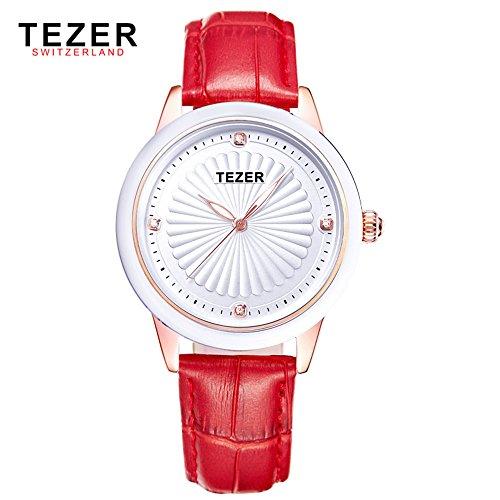 Tezer Fashion aus echtem Leder Quarz Wasserdicht Handgelenk Uhren t3053