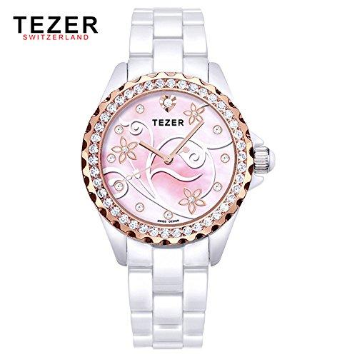Tezer New Fashion Damen Keramik Handgelenk Uhren T5002