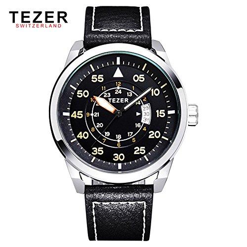 Tezer Fashion Armbanduhr Sport Quarz wasserabweisend Herren Handgelenk Uhren mit Big Zifferblatt T2015